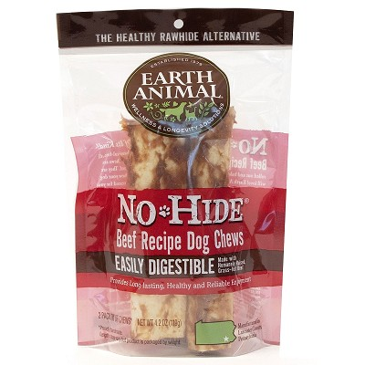 Earth Animal No-Hide Beef Chews Dog Treats, Large, 2 Pack