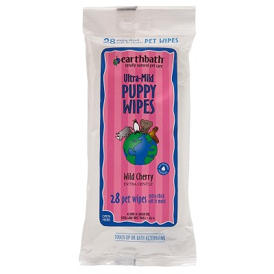 Earthbath Ultra-Mild Wild Cherry Travel Size Puppy Grooming Wipes, 28-Count
