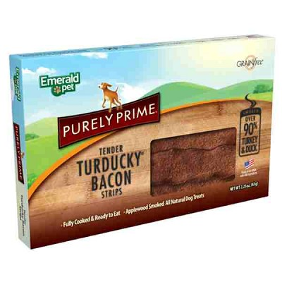 Emerald Pet Purely Prime Tender Turducky Bacon Strips Dog Treats