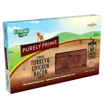 Emerald Pet Purely Prime Tender Turkey & Chicken Bacon Strips Dog Treats