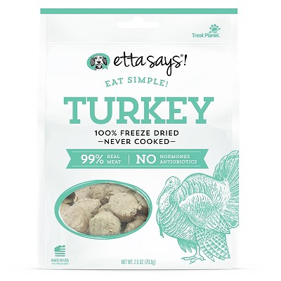 Etta Says! Eat Simple Turkey Recipe Freeze-Dried Dog Treats, 2.5-oz Bag