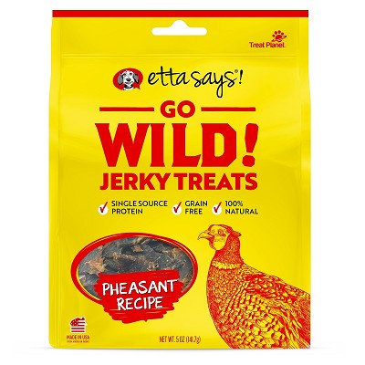 Etta Says! Go Wild Jerky Pheasant Recipe Dog Treats, 5-oz Bag