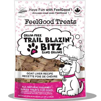 FeelGood Trail Blazin Bitz Grain-Free Goat Liver Recipe Dog Treats, 8.8-oz Bag