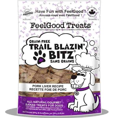 FeelGood Trail Blazin Bitz Pork Liver Recipe Dog Treats, 8.8-oz Bag