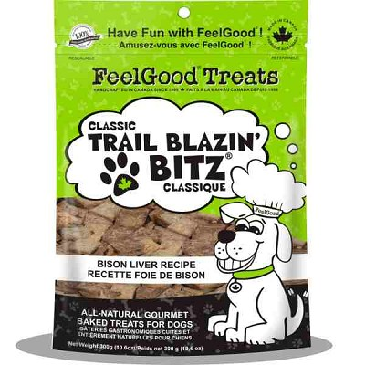 FeelGood Classic Trail Blazin Bitz Bison Liver Recipe Dog Treats, 10.6-oz Bag
