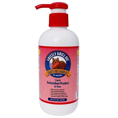 Grizzly Krill Health Liquid Antioxidant Dog Supplement, 8-oz bottle