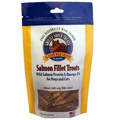 Grizzly Pure Dehydrated Wild Salmon Fillet Dog & Cat Treats, 3-oz Bag