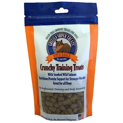 Grizzly Super Treats Smoked Wild Salmon Crunchy Training Treats for Dogs, 5-oz Bag