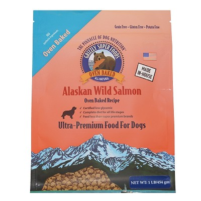 Grizzly Super Foods Wild Alaskan Salmon Ultra Premium Oven Baked Dog Food, 1-lb Bag