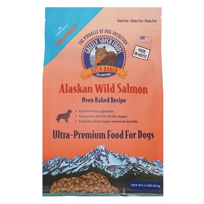 Grizzly Super Foods Wild Alaskan Salmon Ultra Premium Oven Baked Dog Food, 3-lb Bag