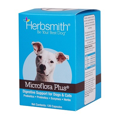 Herbsmith Microflora Plus Digestion Support Capsules Dog & Cat Supplement, 120-Count