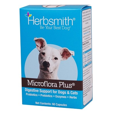 Herbsmith Microflora Plus Digestion Support Capsules Dog & Cat Supplement, 60-Count