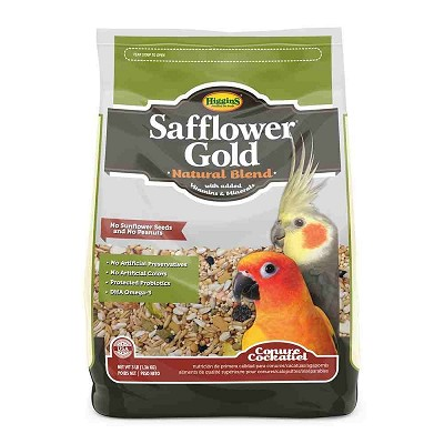 Higgins Safflower Gold Conure/Cockatiel Bird Food, 3 lb