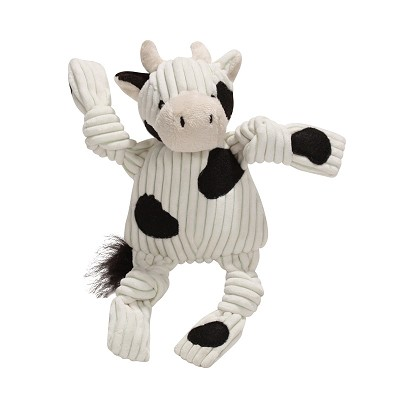 HuggleHounds Plush Corduroy Barnyard Knotties Cow Dog Toy, Large
