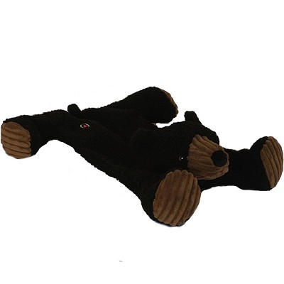 HuggleHounds Bear Flattie Dog Toy, Large