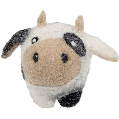 HuggleHounds Cow Eco-Wooly Ball Dog Toy