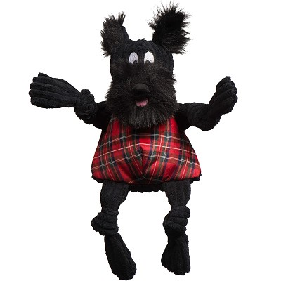Hugglehounds Holiday Tartan Scotch Scottie Knottie Dog Toy, Large