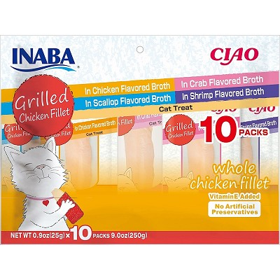 INABA Grain-Free Grilled Chicken Fillet Variety Pack Cat Treats, Package of 10