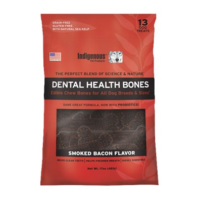Indigenous Pet Products Grain-Free Dental Health Bones Smoked Bacon Recipe Dog Chews