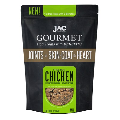 JAC Pet Nutrition Free Run Chicken Dehydrated Dog Treats with Benefits, 8-oz