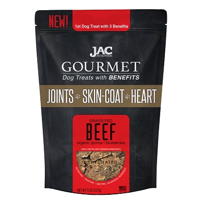 JAC Pet Nutrition Grass Fed Beef Dehydrated Dog Treats with Benefits, 8-oz