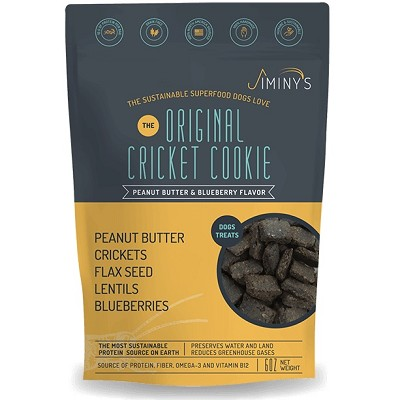 Jiminy's The Original Cricket Cookie Peanut Butter & Blueberry Recipe Dog Treats, 6-oz Bag