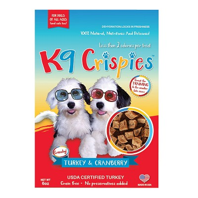 K9 Crispies Turkey and Cranberry Dehydrated Bite-Size Training Dog Treats, 6-oz Bag