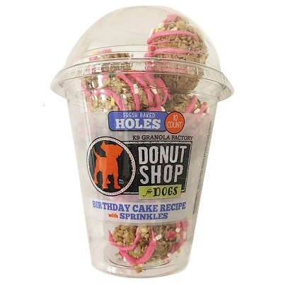 K9 Granola Factory Donut HOLES Birthday Cake Recipe w/ Sprinkles Dog Treats, 10 Count