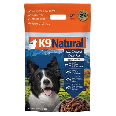 K9 Natural Beef Feast Raw Freeze-Dried Dog Food, 4 lb
