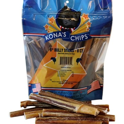 Kona's Chips USA Bully Sticks for Dogs 6 Inch, 8-Count