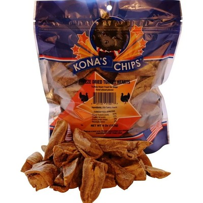Kona's Chips Freeze-Dried Turkey Hearts Dog Treats, 4-oz Bag