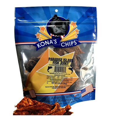 Kona's Chips USA Paradise Island Fish Jerky Dog Treats, 3.25-oz Bag