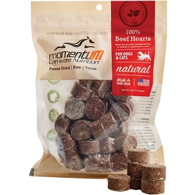 Momentum Freeze-Dried Beef Hearts for Dogs & Cats, 4-oz Bag