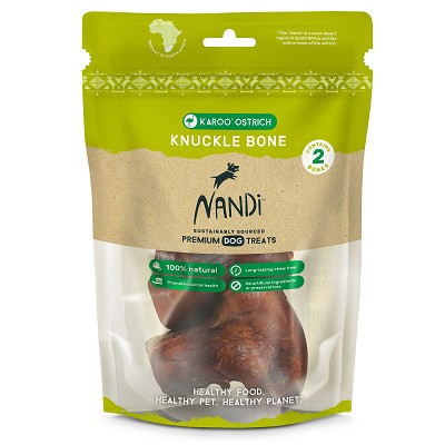 Nandi Karoo Ostrich Knuckle Bones for Dogs, 2-Pack
