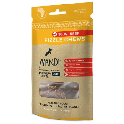 Nandi Nguni Beef Pizzle Chews Dog Treats, 3.5-oz Bag