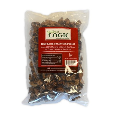 Nature's Logic Beef Lung Treats for Dogs, 1-lb bag