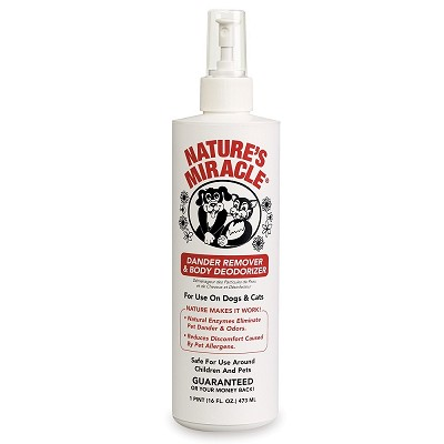 Nature's Miracle Dander Remover & Body Deodorizer Spray for Dogs & Cats