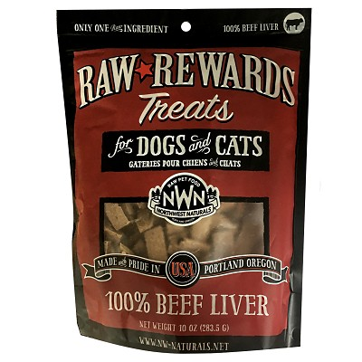 Northwest Naturals Raw Rewards Freeze-Dried Beef Liver Dog & Cat Treats, 10-oz Bag