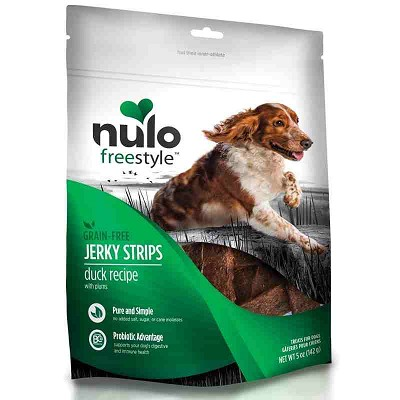 Nulo Freestyle Grain-Free Duck with Plums Recipe Jerky Strips Dog Treats, 5-oz bag