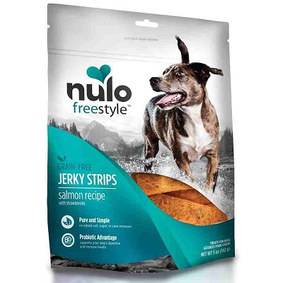 Nulo Freestyle Grain-Free Salmon Recipe with Strawberries Jerky Strips Dog Treats, 5-oz bag