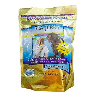 NutriSea Sea Jerky Beef Formula Dog Joint Sticks Supplement, 15-oz Bag