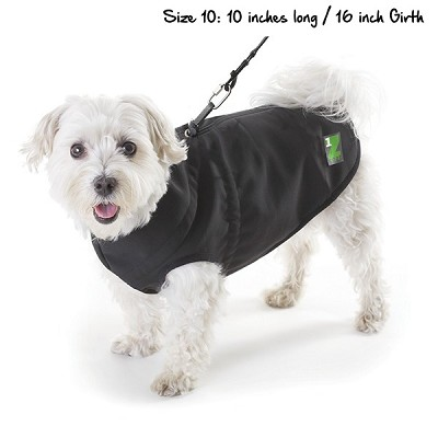 Pawz Black 1Z Coat with Built-In Dog Harness, Size 10