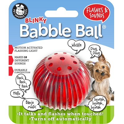 Pet Qwerks Blinky Babble Ball Interactive Dog Toy, Small