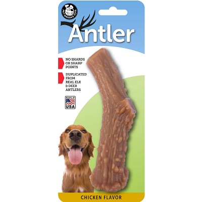Pet Qwerks Chicken Flavored Nylon Antler USA Dog Chew Toy, Large