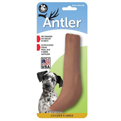 Pet Qwerks Chicken Flavored Nylon Antler USA Dog Chew Toy, Extra Large