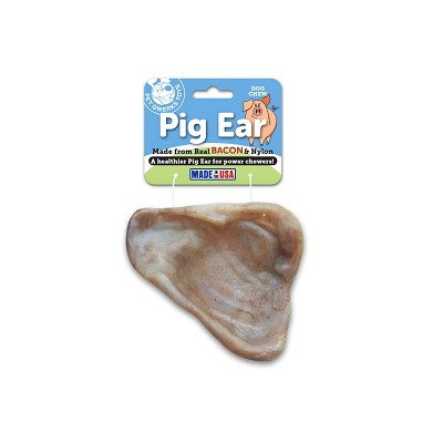 Pet Qwerks Nylon Pig Ear Bacon Flavored USA Dog Chew Toy, Medium
