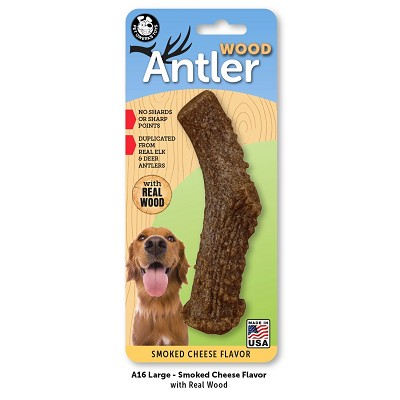 Pet Qwerks Smoked Cheese Flavored Wood Antler USA Dog Chew Toy, Large