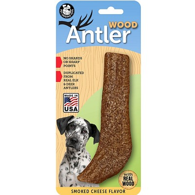 Pet Qwerks Smoked Cheese Flavored Wood Antler USA Dog Chew Toy, Extra Large