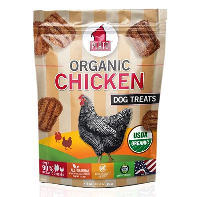 Plato Natural Organic Chicken Strips Dog Treats, 16-oz Bag