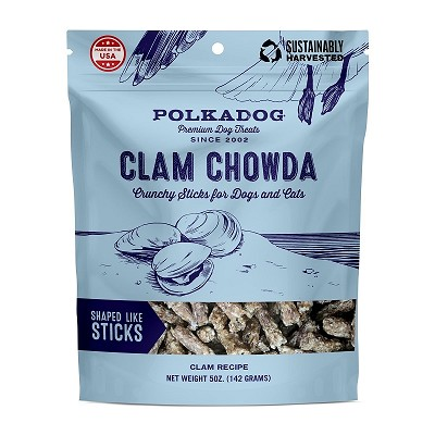 Polka Dog Clam Chowda Crunchy Dog Treats, 5-oz Bag